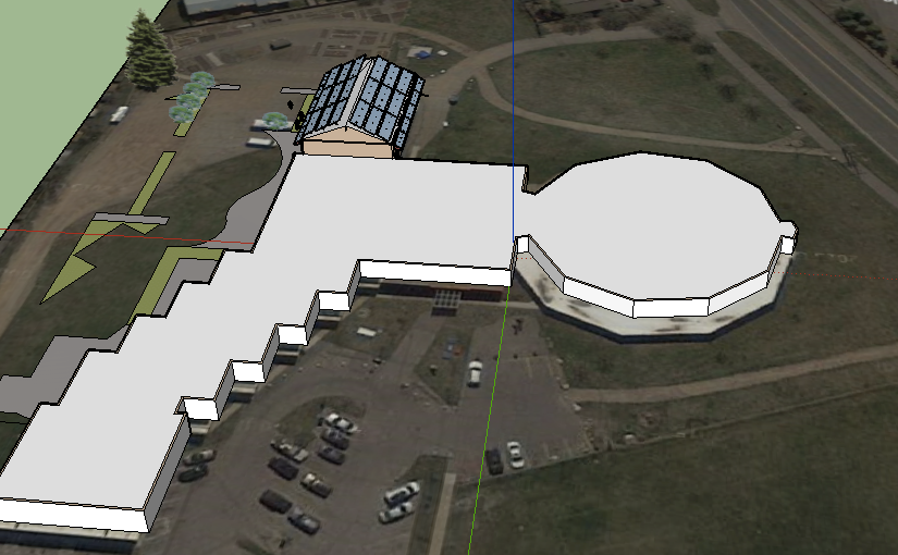 We began inputting the dimensions of the Third Street Center and planned improvements into Google SketchUp model.