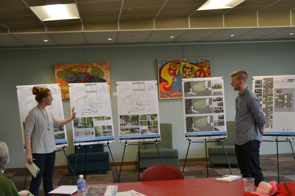 CU Denver Grad Students present conceptual ideas on outside improvements at Third Street Center